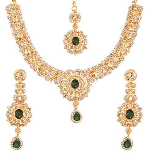 (Touchstone New Indian Bollywood Desire Enchanting Floral Diamond Studded Look White Rhinestone Faux Green Emerald Bridal Designer Jewelry Necklace Set in Gold Tone for Women)