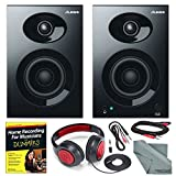 Alesis Elevate 3 MKII 20W 3'' Two-Way Active Desktop Studio Speakers and Platinum Bundle w/ Headphones, Studio Recording Guide, Cables, and Fibertique Cloth