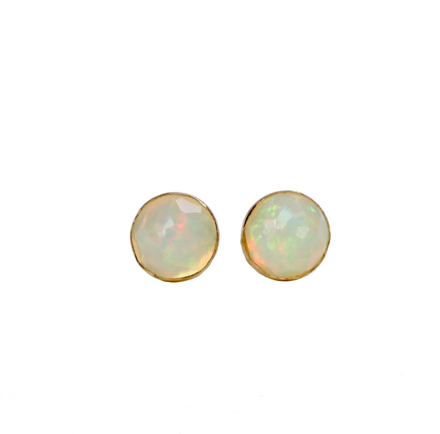 Genuine White Opal Gold Stud Earring Real Opal Faceted Ethiopian Welo - 6mm