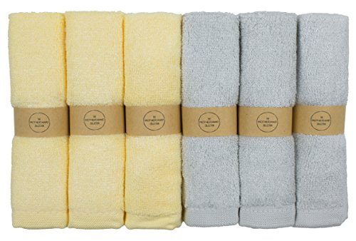 The Motherhood Collection 6 ULTRA SOFT Baby Bath Washcloths, 100% Natural Bamboo Towels, Gender Neutral, Perfect for Sensitive Baby Skin, 6 Pack 10'x10'