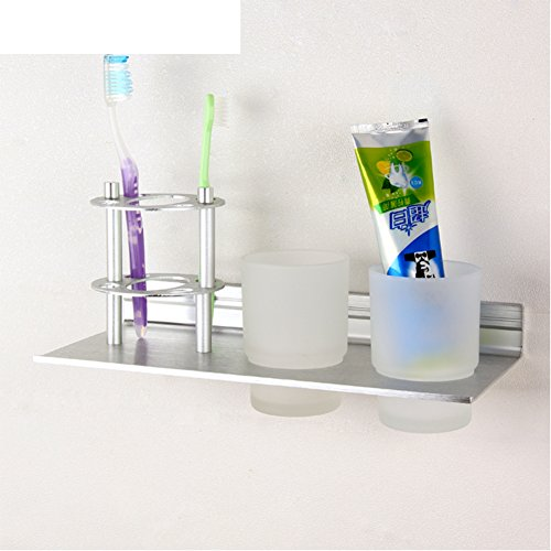 Space aluminum toothbrush holder/Dual cup holders/Multifunctional bathroom hardware accessories