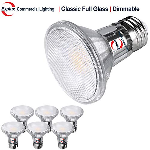Explux Commercial Lighting Classic Full-Glass PAR20 LED Flood Light Bulbs, Dimmable, 2700K Soft White, Indoor/Outdoor, 50W Equivalent, 6-Pack (Best Solar Landscape Lights Consumer Reports)