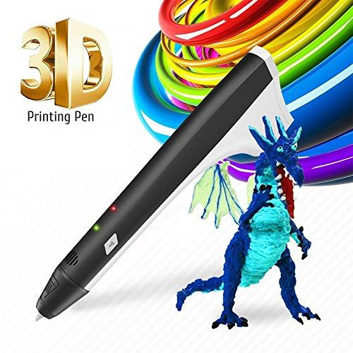 3D Pen Kids Drawing Doodling 3D Printing Pen Pencil Printer Intelligent PCL PLA Filament Refills Best Gift for Teens and Childs,Black (3d Pencils)
