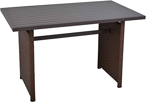 SUNVIVI OUTDOOR Outdoor Dining Table Patio Rectangular Dining Table Brown Wicker Aluminum Top Steel Frame