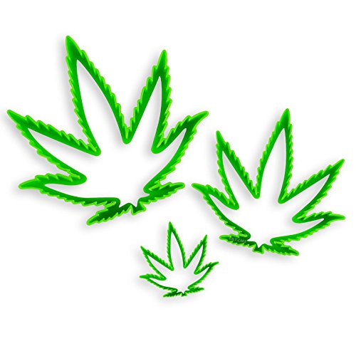 NY Cake NY2100 Marijuana Cannibus Plastic Leaf Cutter (Set of 3), Large/Medium/Small, Green