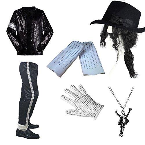 CIGUO Adult Child MJ Billie Jean Jacket Suit Dance Cosplay Costume (One Size, Glove) -