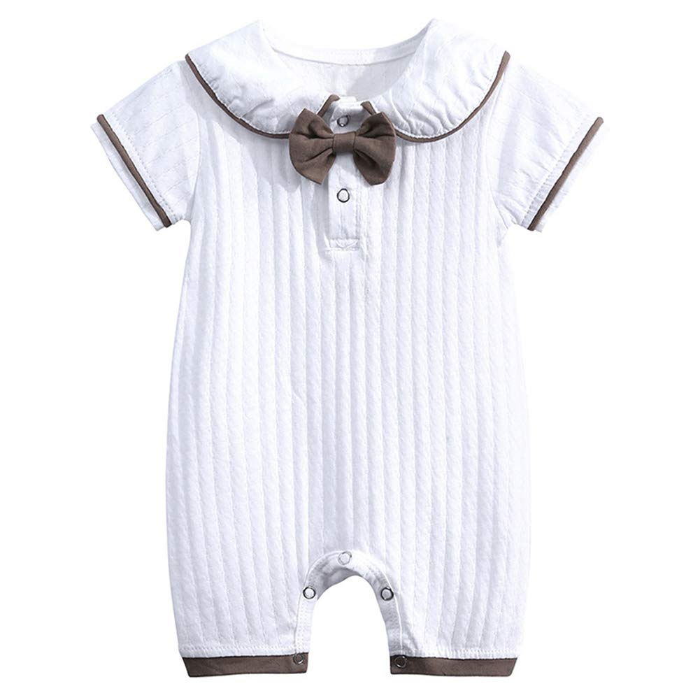 LittleSpring Infant Baby Boys Short Sleeve Romper One-Piece Jumpsuit White