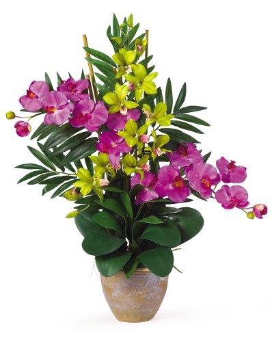 Nearly Natural 1071-OG Double Phalenopsis/Dendrobium Silk Flower Arrangement, Orchid/Green ()