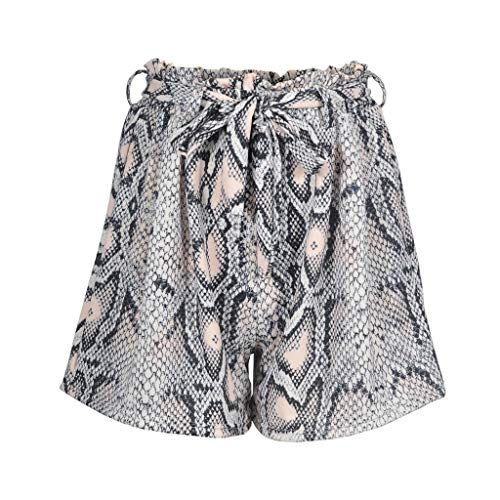 Price comparison product image Mysky Fashion Women Summer Sexy Snake Print High Waist Shorts Ladies Casual Lace Up Sport Shorts Pants