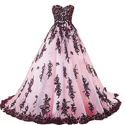 Custom Made Gowns - Gothic Black Lace Ball Gown Long Prom Dresses Wedding Gowns Custom Made Pink