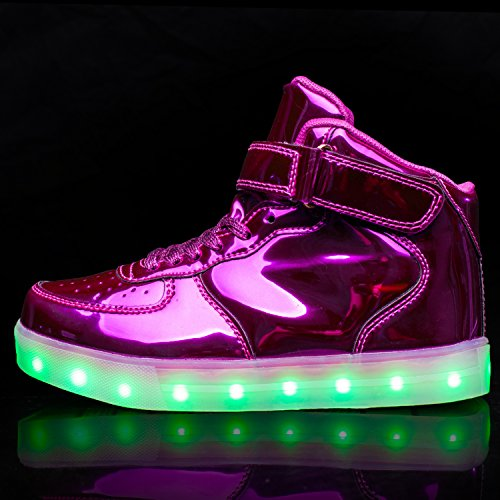 USB Uomo Carica TULUO Donna LED Kid Luce Sneakers e Scarpe High Colori 7 Top Purple e qX4EY4w