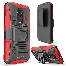 Moto X Case, i-Blason Google Motorola Moto X 2nd Gen Case Prime Series Dual Layer Holster Case with Kickstand and Locking Belt Swivel Clip for Moto X 2nd Generation Case for Moto X 2 (Red)
