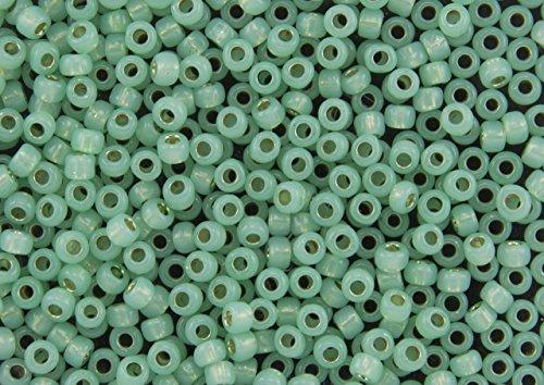 11/0 Toho Japanese Glass Seed Beads - PermaFinish Lime Opal Silver Lined #PF2103 (14g Tube)