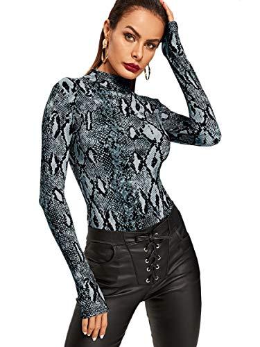 Leotards Animal Print (MAKEMECHIC Women's Pullover Snakeskin Tops Bodysuit Long Sleeves Jumpsuit Multi L)