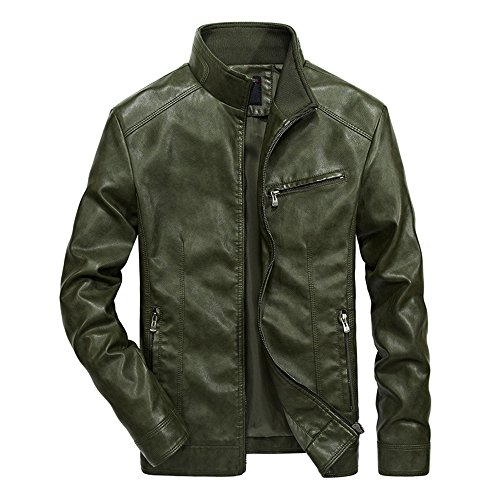 WULFUL Men's Stand Collar Leather Jacket Motorcyle Lightweight Faux Leather Outwear Army (Fur Collar Leather Zippered Jacket)