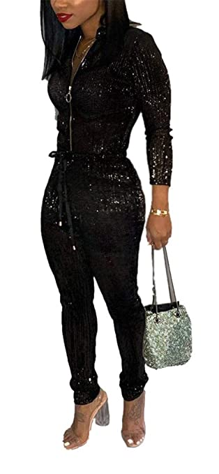 1f29f40e94c47 Amazon.com  LKOUS Women Sexy Feather Sparkly Shiny Long Sleeve Zipper Bodycon  Long Pans Jumpsuit Clubwear Romper S-3XL  Clothing