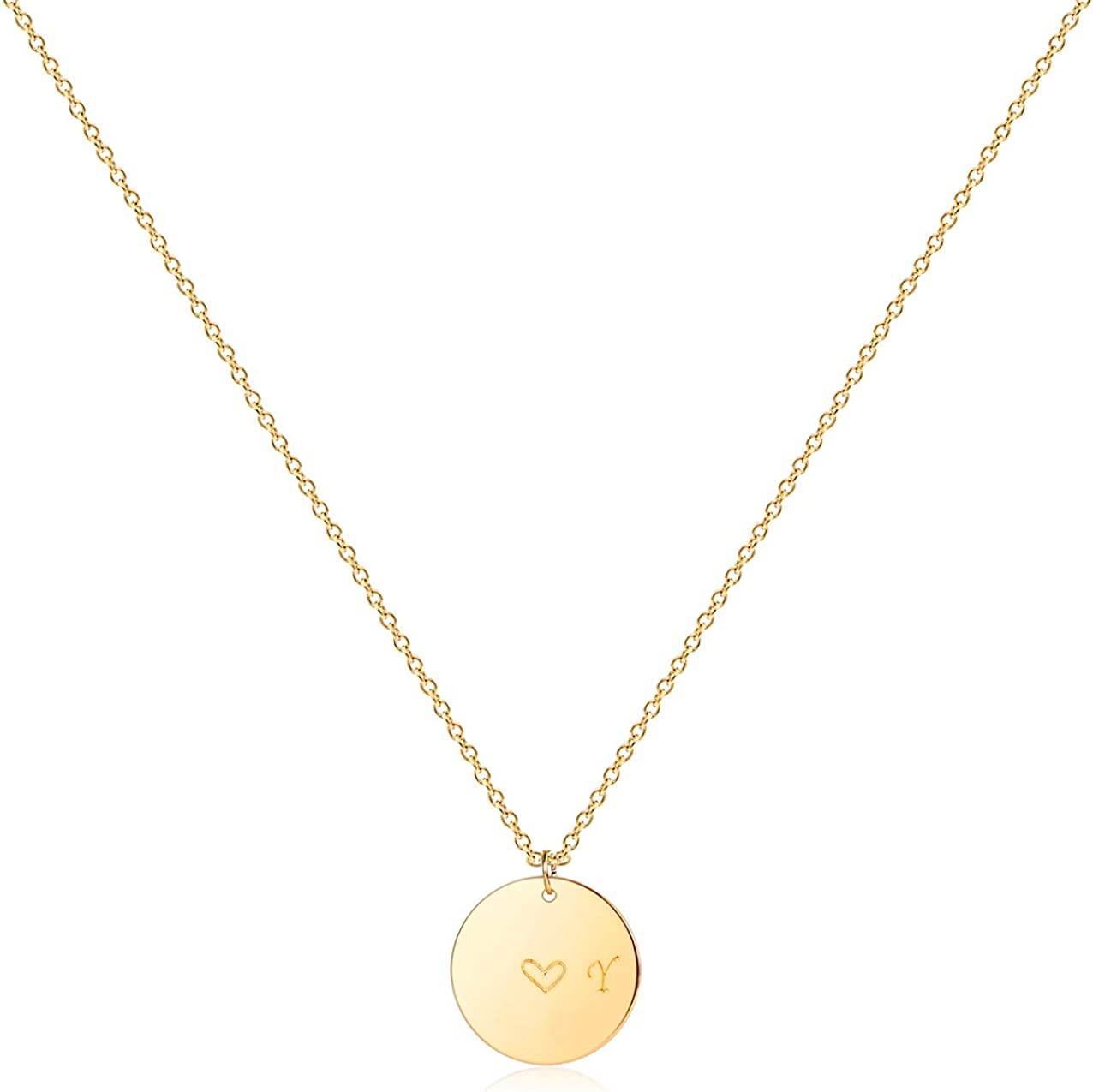 Valentines Gift 14K Gold fill or Rose Gold fill or 925 Sterling Silver Double Heart Necklace Personalized Initial Heart Jewelry