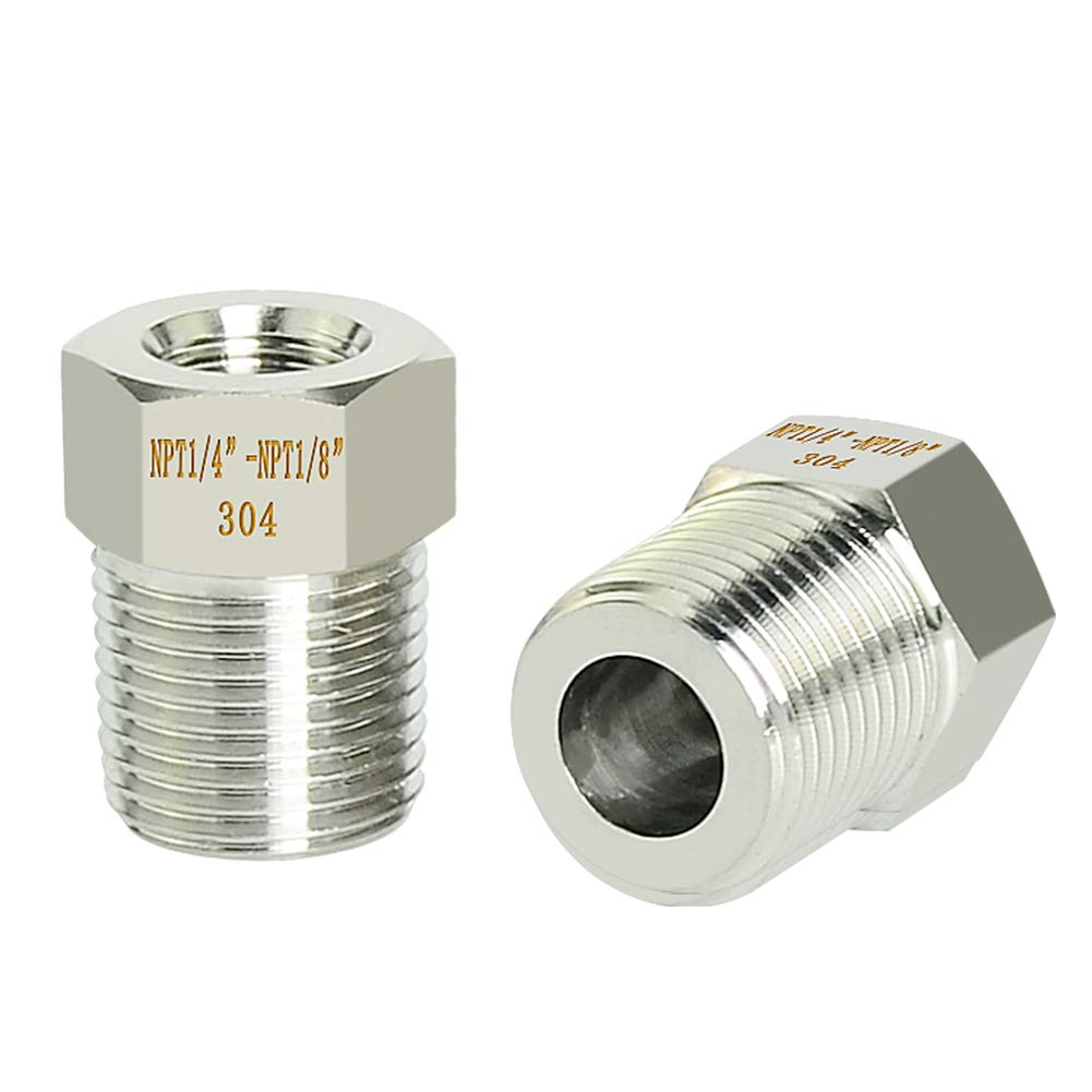 Taisher 5PCS Forging of 304 Stainless Steel Reducer Hex Bushing Reducing Forging Pipe Adapter Fitting 1//2 Male NPT to 3//8 Female NPT
