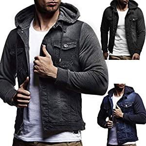 aliveGOT Men's Denim Hooded Jacket Button Down Classy Hoodies Casual Fake Two Pieces Jeans Coats Outwear