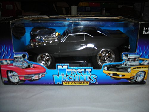 THE ORIGINAL MUSCLE MACHINES CALIFORNIA TOO HOT BLOWN BLACK W/GOLD STRIPES '69 CAMARO 1:18 DIECAST