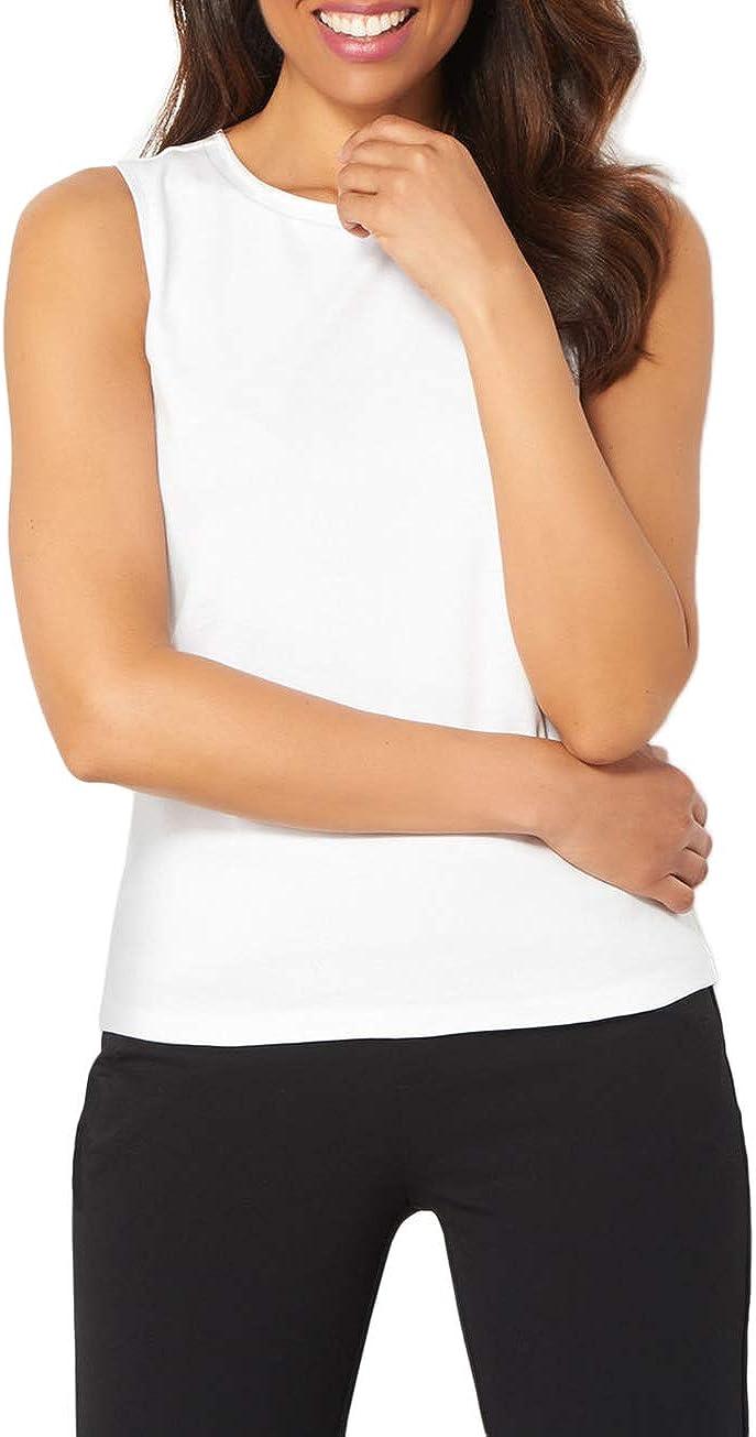 Mujer Camiseta de Tirantes Básica Deporte de Gimnasio Sueltas Formación Ejecutar Camiseta sin Mangas, L, Blanco: Amazon.es: Ropa y accesorios