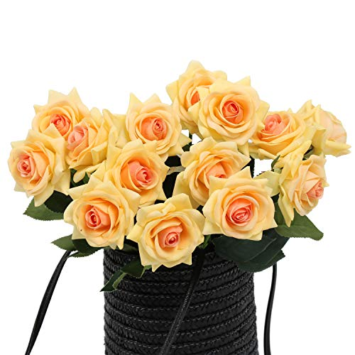 N YONGNUO 12Pcs Real Touch Latex Moisturizing Aritificial Flowers Rose of True and Natural for Wedding Bouquet/Home Decor or As A Gift Send to Ourself/Wife/Mother/Friends/Valentine's Day