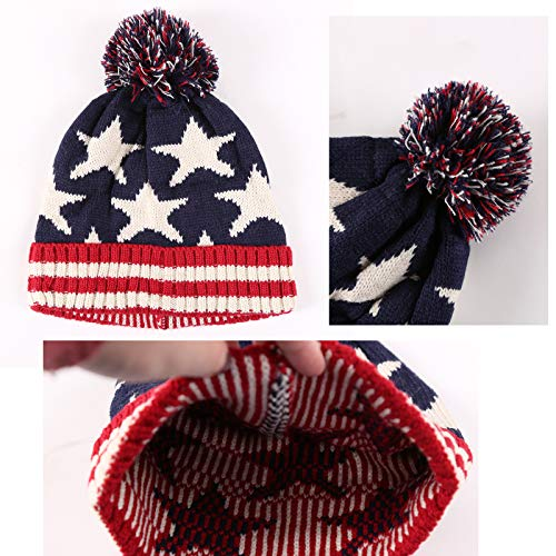 Delila Winter Knitted Pom Beanies Warm Patriotic Skull Cap for Women Men Acrylic Slouchy Ribbed Hat