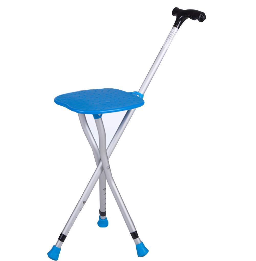 FOTEE faltbar Gehstock mit Sitzfläche, Höhe Verstellbar Sitzfläche Gehstock Tragbar Alu Stockstuhl für ältere Geschenke