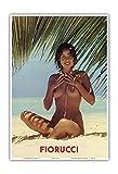 Pacifica Island Art Fiorucci - Nude Girl on Beach - Vintage Advertising Poster c.1970s - Hawaiian Master Art Print - 13 x 19in