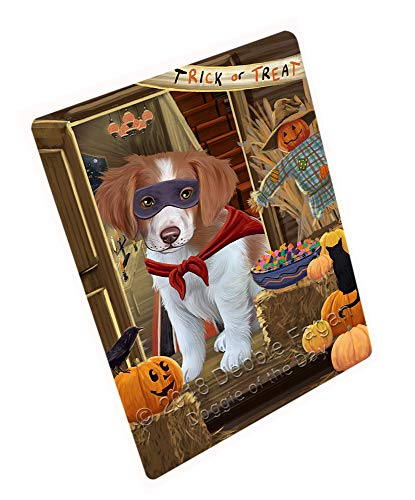 (Doggie of the Day Enter at Own Risk Trick or Treat Halloween Brittany Spaniel Dog Blanket BLNKT94746 (50x60 Fleece) )