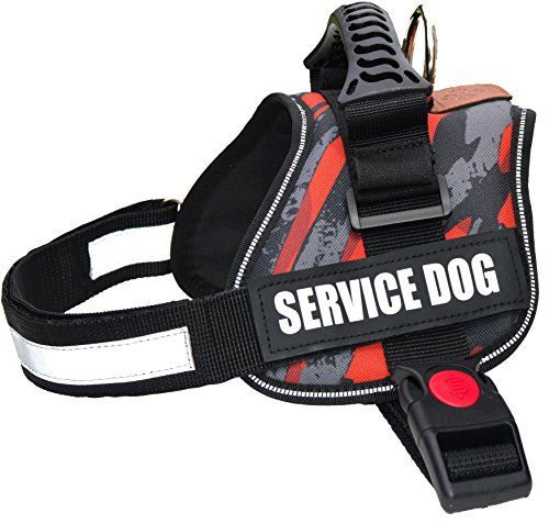 Albcorp Reflective Camo Service Dog Vest Harness, Woven Nylon, Adjustable Service Animal Jacket, with 2 Hook and Loop Removable Patches, Small, Red Camo