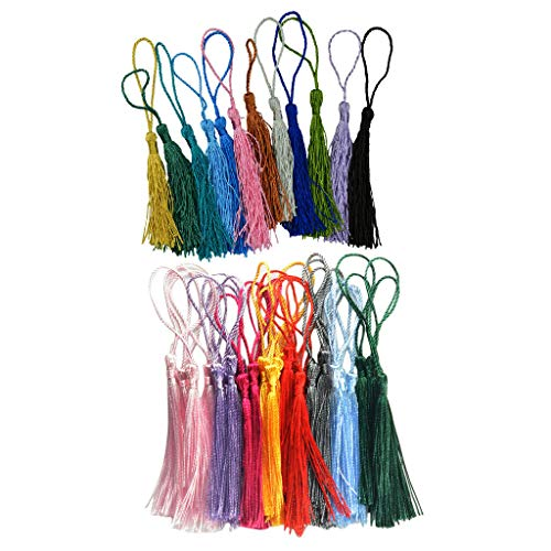 42 Pieces Multicolored Silky Handmade Soft Craft Mini Tassels with Loops DIY