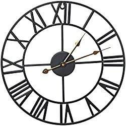 Sorbus Wall Clock, 16 Round Oversized Centurian Roman Numeral Style Home Décor Analog Black Metal Clock, Gold Hands (Black)
