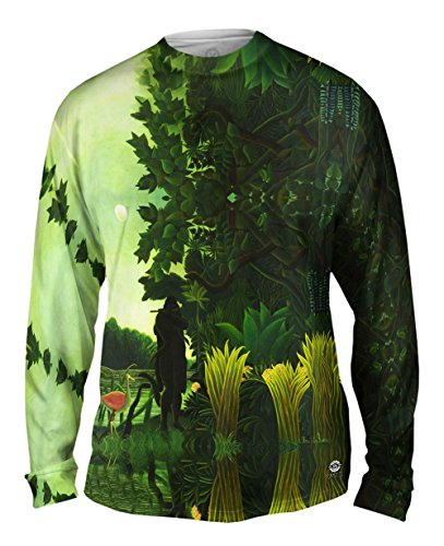 Yizzam- Henri Rousseau - The Snake Charmer (1907) -Tshirt- Mens Long Sleeve-2X