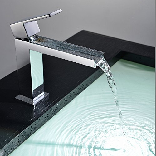 Short Aawang Basin Sink Mixer Tap Bathroom Faucet All Copper Hot And Cold Water Waterfall Faucet Chrome,Short