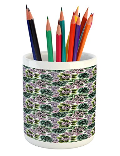 Violet Flowering African (Ambesonne Floral Pencil Pen Holder, Flowering Plants Gardening African Violet Peonies Hydrangea Foliage Illustration, Printed Ceramic Pencil Pen Holder for Desk Office Accessory, Multicolor)