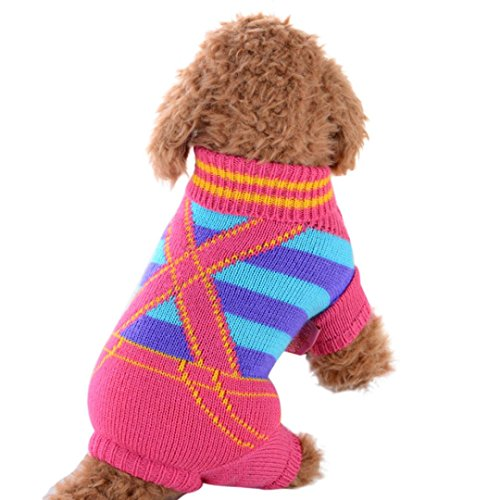 vmree Dog Apparel, Small Pet Dogs Winter Sweaters Rompers (Pink, XXS)