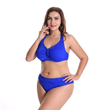 50d029ef0a Amazon.com: elepbaba 2018 Women Plus Size Bikini Set Push Up Pure Color  High Waist Big Chest Female Swimwear Sexy Swimsuit: Clothing