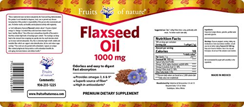 Flaxseed Oil Capsules 1000 mg - Organic, Extra Virgin, and Cold Pressed Quick Release softgels, Omega 3+6+9 - Premium Dietary Supplement - by Fruits of Nature. by Fruits of Nature (Image #1)