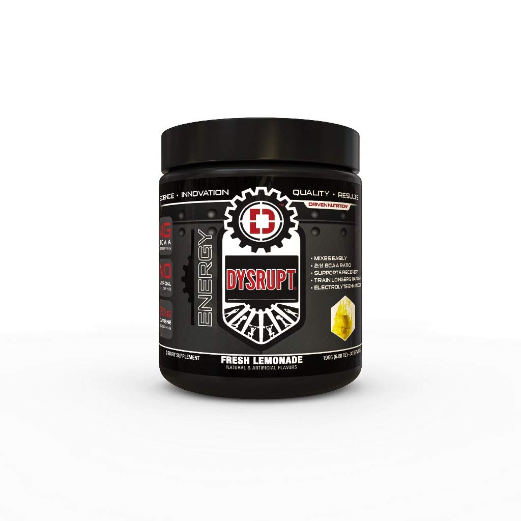 DYSRUPT: BCAA + Caffeine with Electrolytes: Sugar & Gluten Free Supplement- Improve Recovery, burn more fat, increase endurance, and achieve greater focus (Fresh Lemonade)