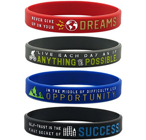 (12-pack) Inspirational Bracelets with Positive Motivational Messages -Anything is Possible, Success, Dreams, Opportunity - Wholesale Bulk Wristbands Giveaway Gift Items for Adults