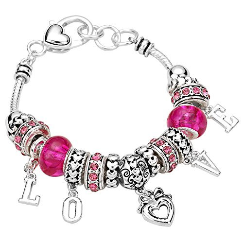 Silvertone Love Charms Bracelet with Pink Accents Beads Rosemarie Rosemarie Collections SW-5797-1XXX