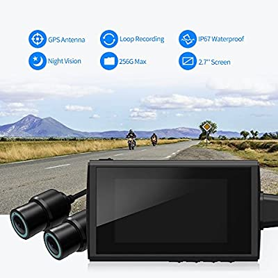 """Motorcycle Recording Camera System by HaloCam, 1080P Dual Lens Dash Cam Dvr, Rear View Sports Action Camera, Waterproof Video Driving Recorder with WiFi & GPS, 2.7"""" LCD, 155 Degree Angle, 256G Max by HaloCam"""