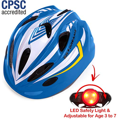 KIDS Helmet  Adjustable from Toddler to Youth Size, Ages 3 To 7 - Durable Kid Bicycle Helmets with Fun Racing Design Boys and Girls will LOVE - CSPC Certified for Safety (K12-7LightWhiteBlue)