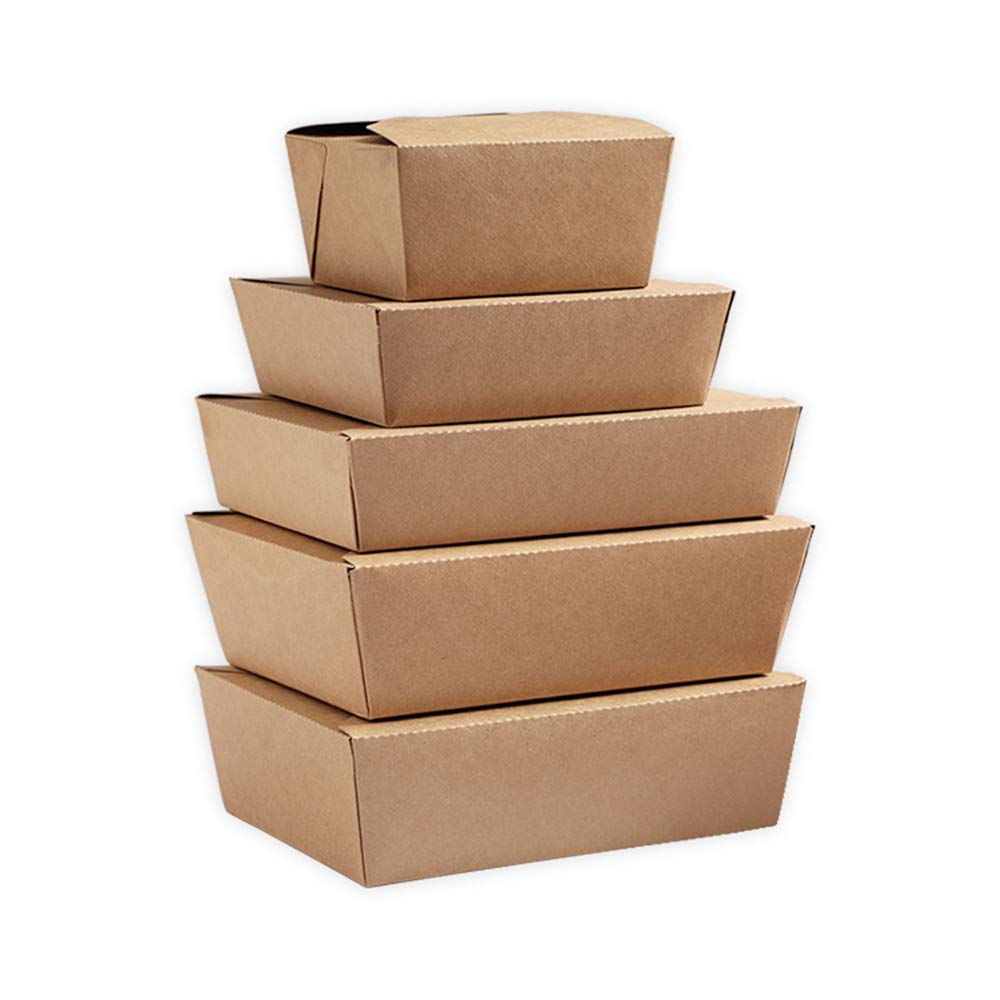 Take Out Boxes for Restaurant, Catering and Party 50 Pack Microwaveable Folding Natural Kraft Take Out Food Containers Leak and Grease Resistant(Brown, 50 Oz)