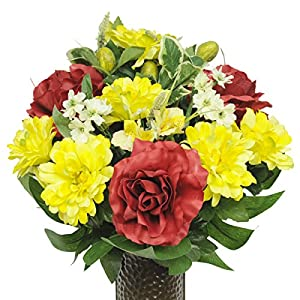 Red Rose and Yellow Dahlias Mix Artificial Bouquet, featuring the Stay-In-The-Vase Design(c) Flower Holder (SM1348) 69