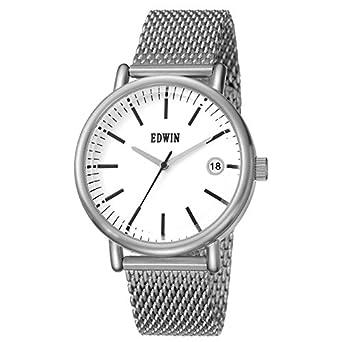 Edwin ew1g001 m0054 Edelstahl Silber Mesh Band weiß Zifferblatt Uhr