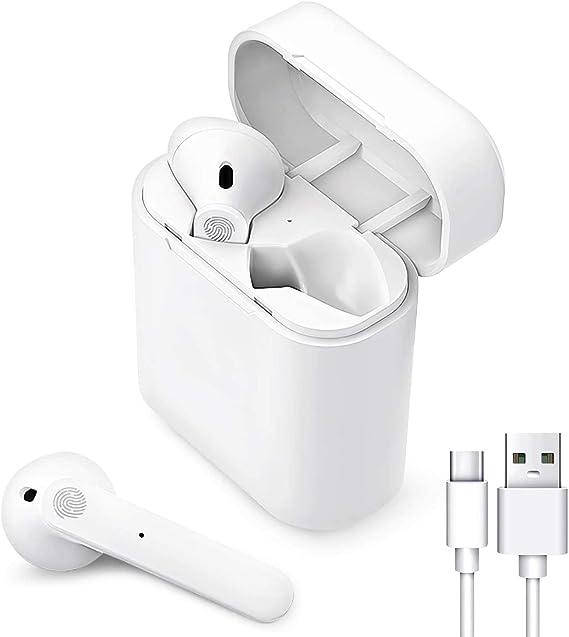 Auriculares Inalámbricos Bluetooth 5.0, Auriculares Bluetooth Deportivos IPX5 Impermeable, In-Ear Cascos Bluetooth Inalámbricos con Microfono Dual y Caja de Carga para Android/Samsung/Huawei/Xiaomi.