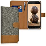 kwmobile Wallet case canvas cover for Samsung Galaxy A5 (2017) - Flip case with card slot and stand in dark grey brown