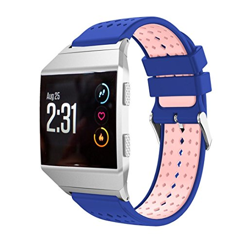 For Fitbit Ionic Band,Lightweight Silicone Bicolor Diamond Hole Replacement Wristband Smart Watch Sport Strap With Metal Connector,Esharing (Blue) (Bi Retro Watch)